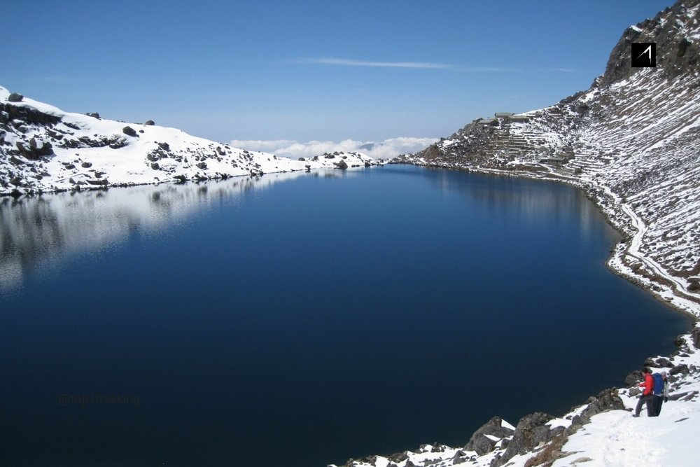 Couple of hikers walk on the edge of the sacred lake of Gosaikunda