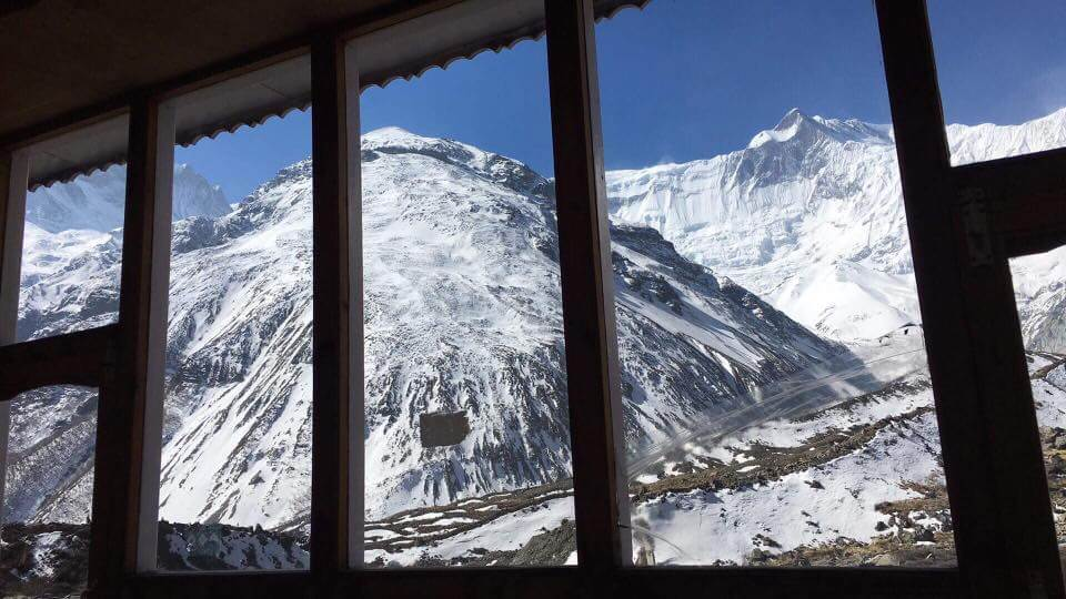 Teahouse with amazing mountain view in Tilicho Base Camp