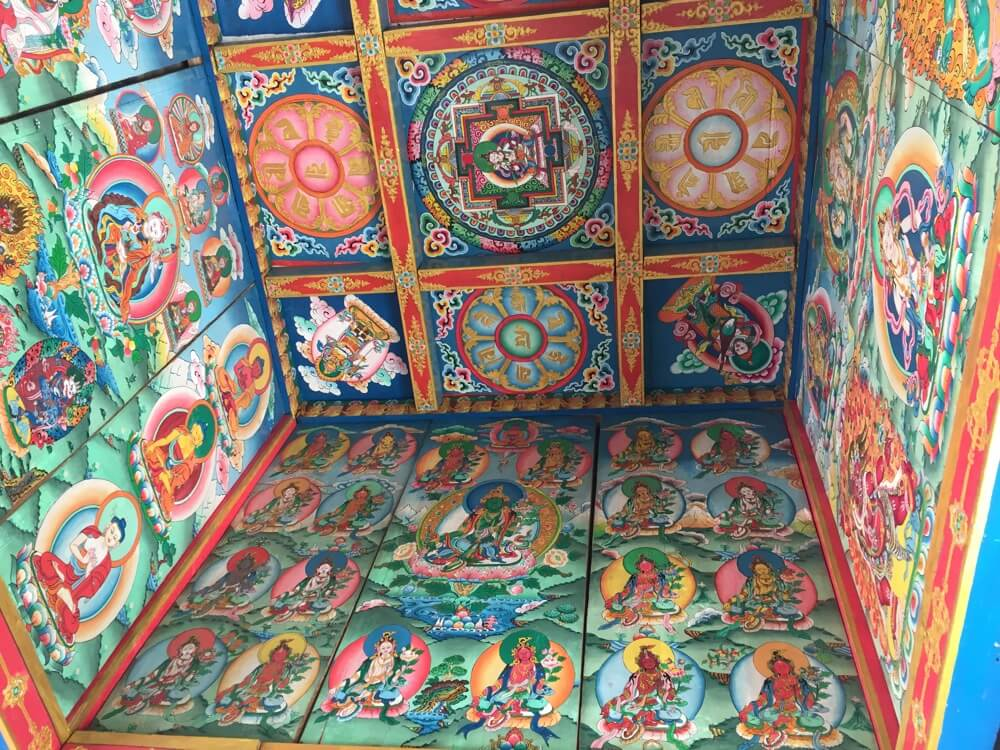 Thangka painting on the wall of the monastery