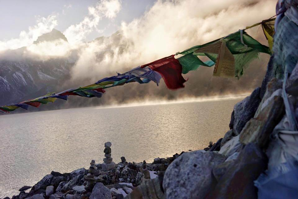 Prayer flags and the gokyo lake.jpg