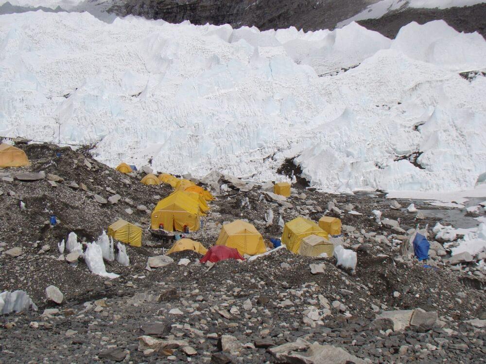 Everest Base Camp built on top of glacier.JPG