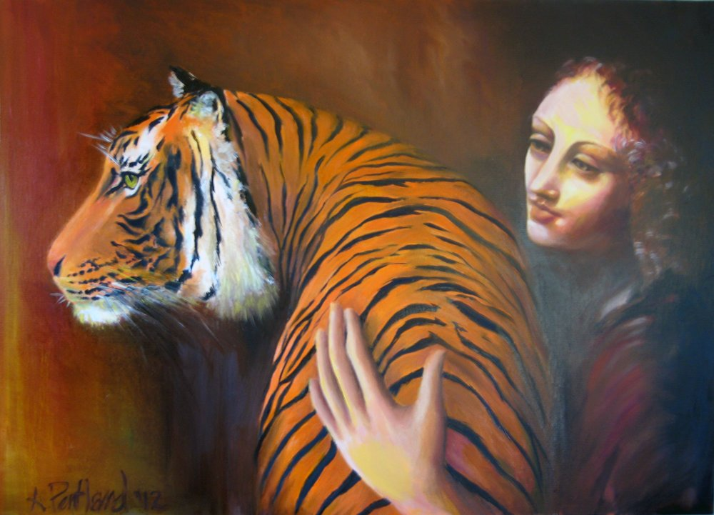 Madonna and Tiger (after da Vinci)