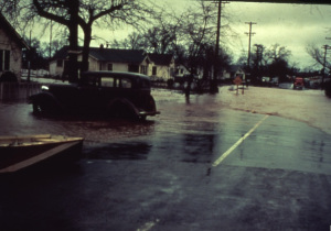 A color slide of a Redding neighborhood during the Flood of '40