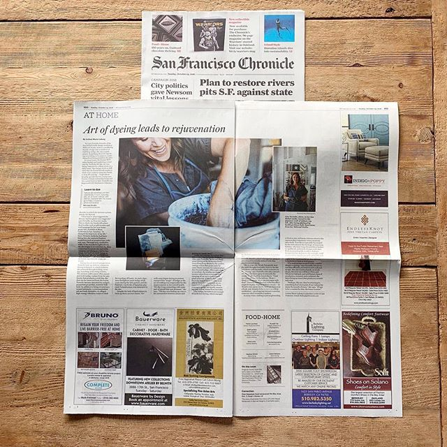 A huge thank you to the @sfchronicle for including us in today's paper and to @leilanimarielabong for her beautiful writing and storytelling. I love sharing this ancient art form with others and am always giddy when I see the power of natural dyes light up. A special thank you to @abiqphoto for the soul-filling photos, to @salt_and_still for helping me feel my best and @sophiejameswine for the introduction and daily inspiration. Thank you!