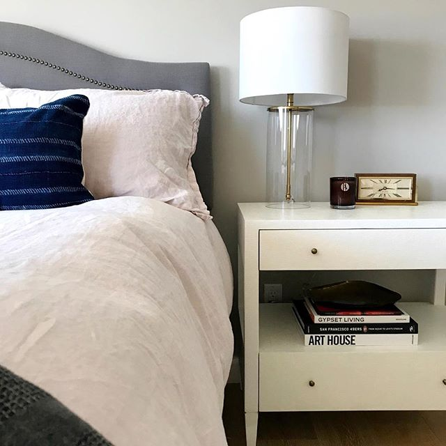 Yesterday I took a step back to plan my next six months, for both personal endeavors and client work. Can't wait to work with my Dream Client again. This is her bedroom and next up is her family room and entryway. This @madegoods nightstand is perfection and I love how we added the couple's vintage clock on her hubby's side of the bed.