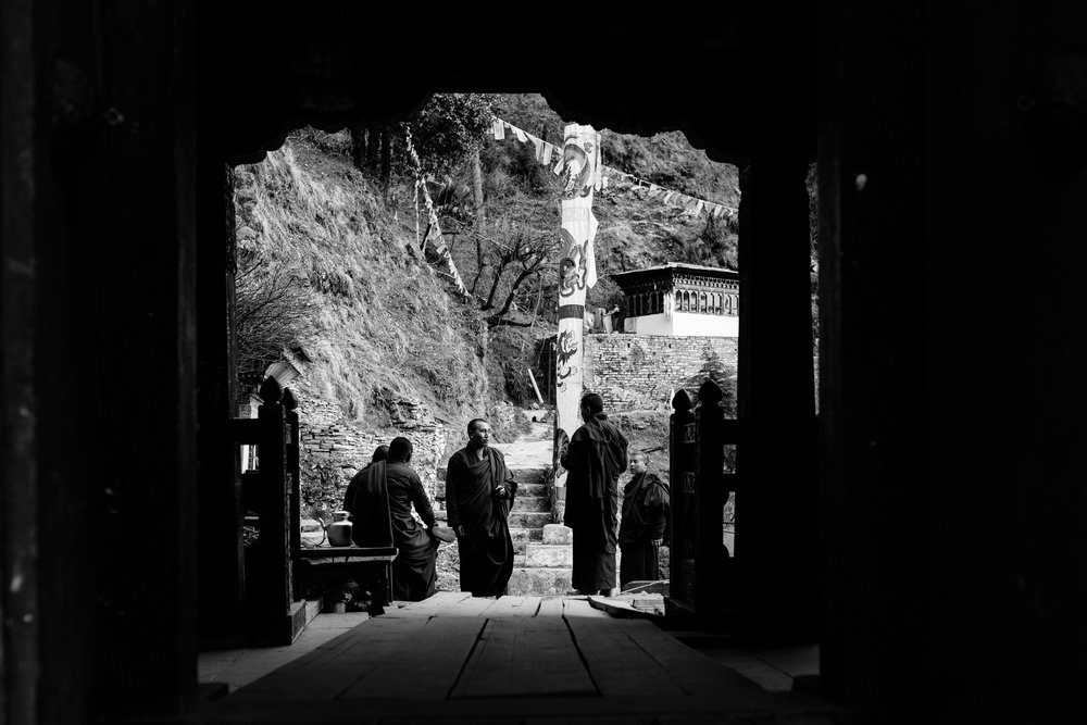 monastery monks chatting
