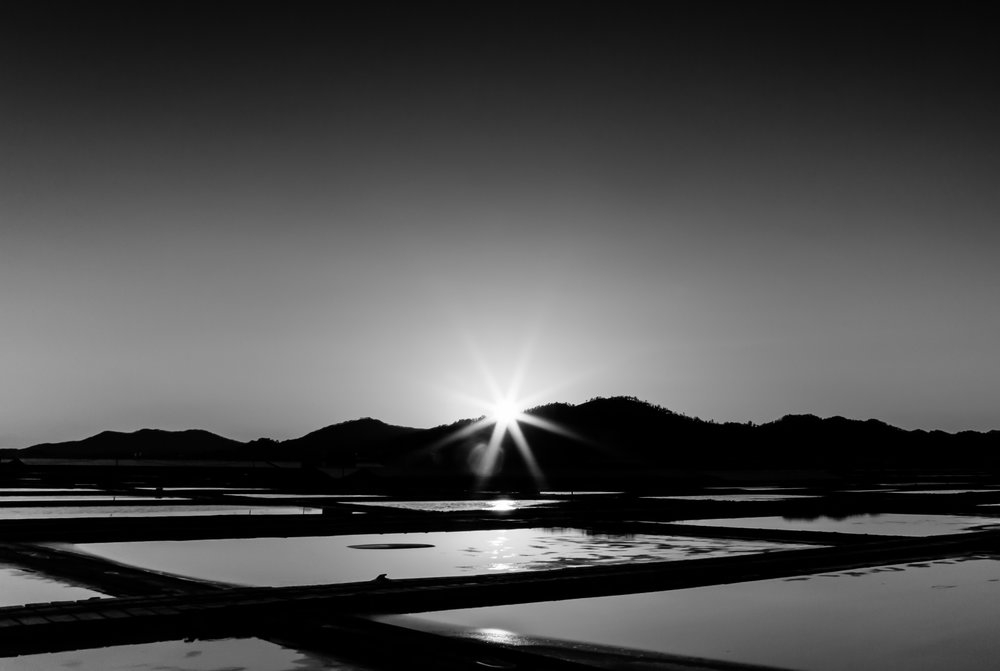 Sunset salt fields