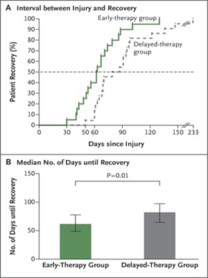 Figure 1. Early vs Delayed Rehabilitation After Acute Muscle Injury, Magnusson & Kjaer (2017)
