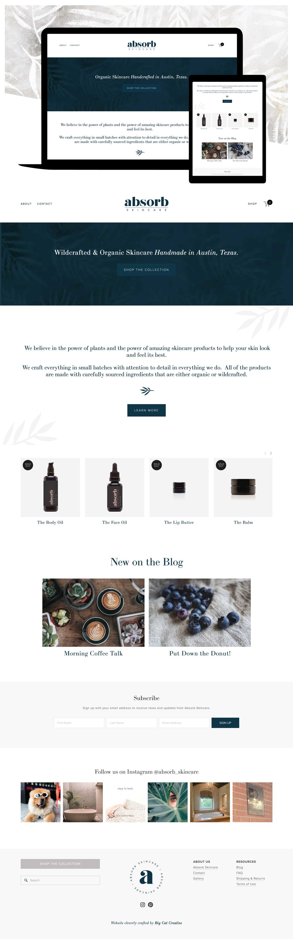 Absorb Skincare Squarespace Website Design by Big Cat Creative