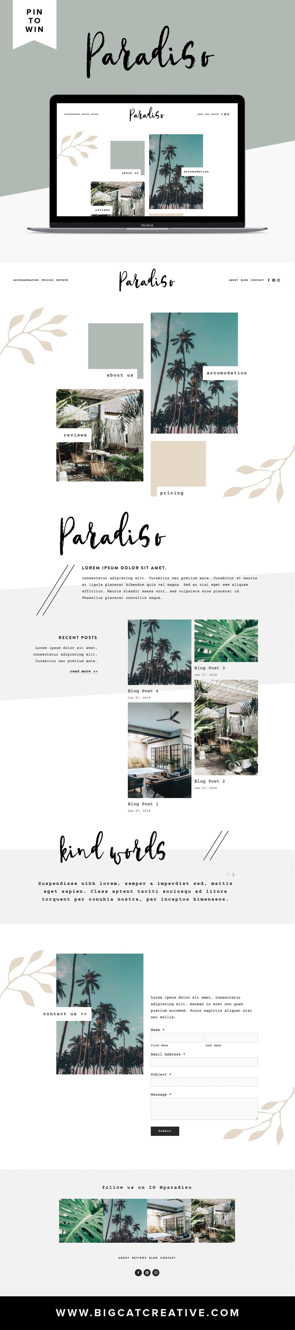 PIN IT TO WIN IT! PARADISO SQUARESPACE TEMPLATE IS LIVE. Paradiso is a mix of modern and classic styles with a funky, tropical vibe. This template is perfect for a business, blogger or influencer that wants to display a lot of imagery. You can customize this template any way you like to suit your business. By Big Cat Creative | Squarespace Templates | Website Templates | Squarespace Design |  Squarepace Themes | Squarespace Inspiration | Squarespace Website Design Inspiration | Squarespace Blog Design | Website Design Layout | Web Design