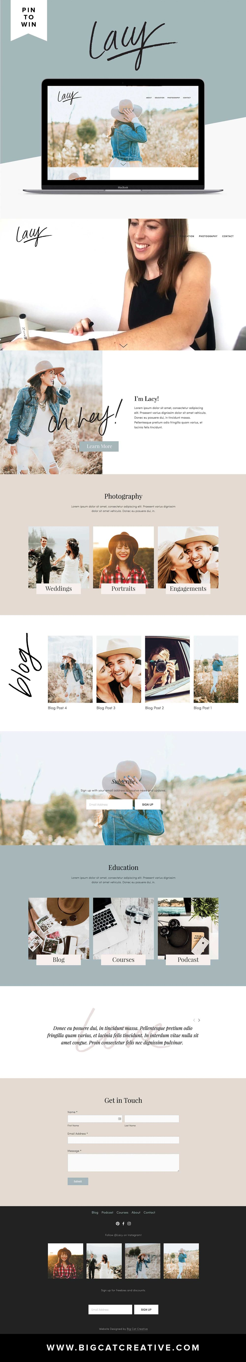 PIN IT TO WIN IT! LACY SQUARESPACE TEMPLATE IS LIVE. Lacy is gorgeous, feminine and classic. This template is perfect for a photographer of any kind, course creator, an online business, blogger or influencer. You can customize this template any way you like to suit your business. By Big Cat Creative | Squarespace Templates | Website Templates | Squarespace Design |  Squarepace Themes | Squarespace Inspiration | Squarespace Website Design Inspiration | Squarespace Blog Design | Website Design Layout | Web Design