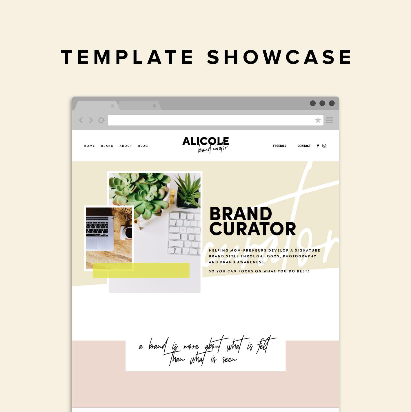 Squarespace Template Showcase Alicole Brand Curator Big Cat