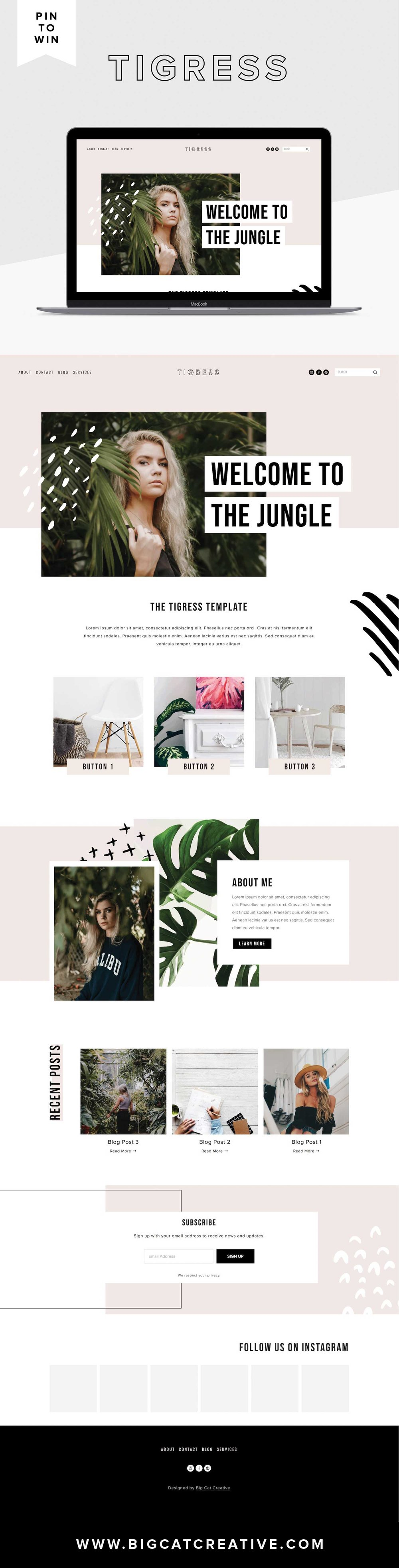 PIN IT TO WIN IT! TIGRESS SQUARESPACE TEMPLATE IS LIVE. Tigress is edgy, modern and feminine. This template is perfect for small businesses (photographers, designers, VAs, copywriters, educators etc), bloggers or influencers. This template is completely customizable, you can change colors, fonts, text, styles, almost anything! By Big Cat Creative | Squarespace Templates | Website Templates | Squarespace Design |  Squarepace Themes | Squarespace Inspiration | Squarespace Website Design Inspiration | Squarespace Blog Design | Website Design Layout | Web Design