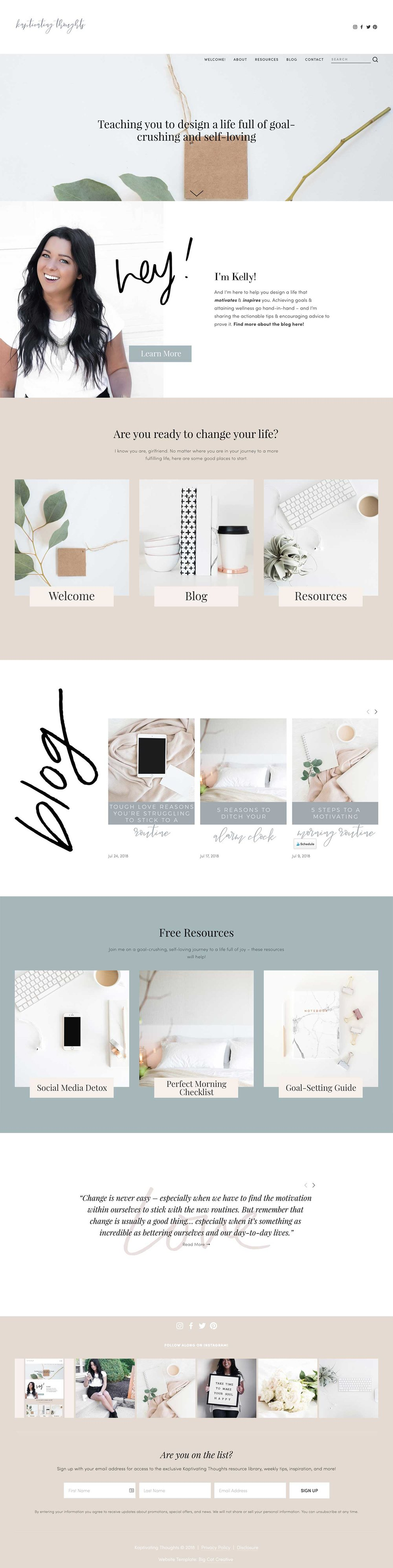 Squarespace Template Design by Big Cat Creative - Template Showcase - Kaptivating Thoughts
