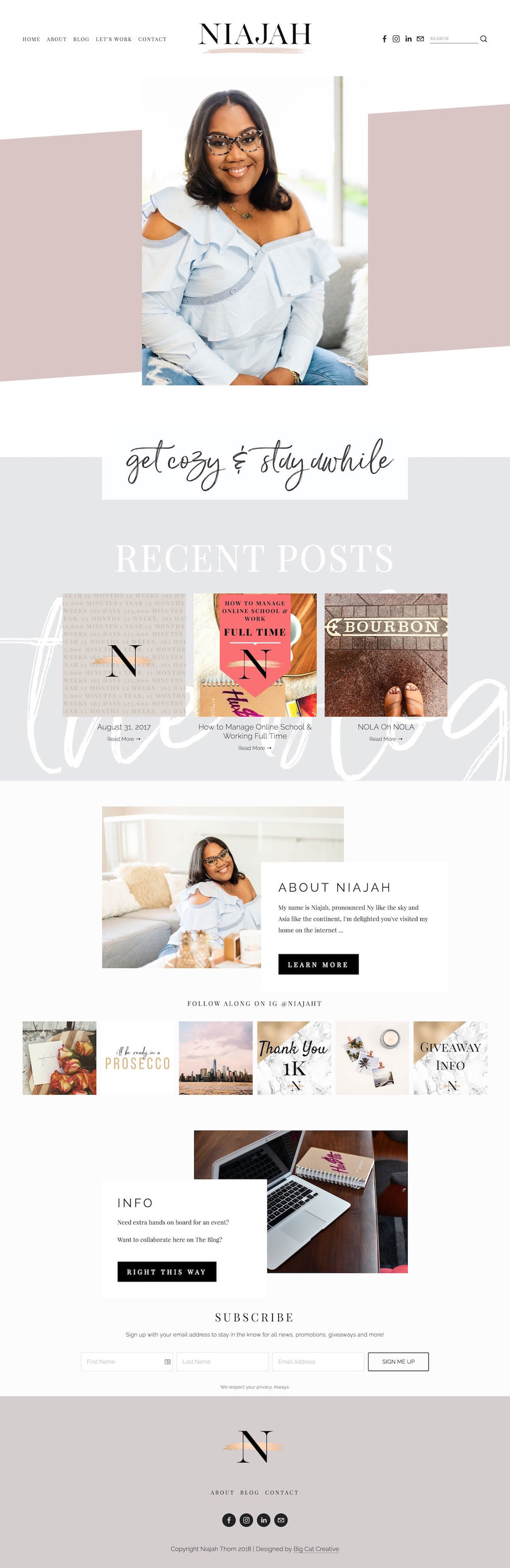Squarespace Template Design by Big Cat Creative - Template Showcase - Niajah