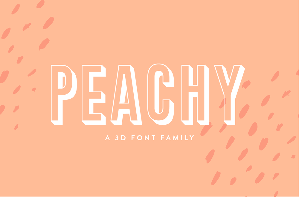 Peachy - A Fun 3D Display Font Family by Big Cat Creative