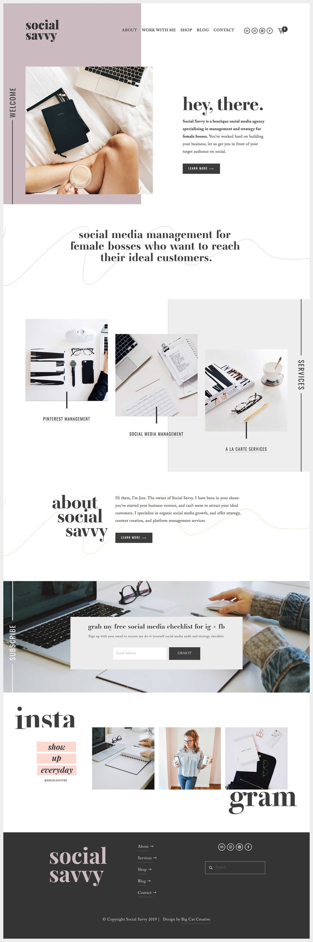 Squarespace Template Design by Big Cat Creative - Unearth Template Showcase - Social Savvy Hq