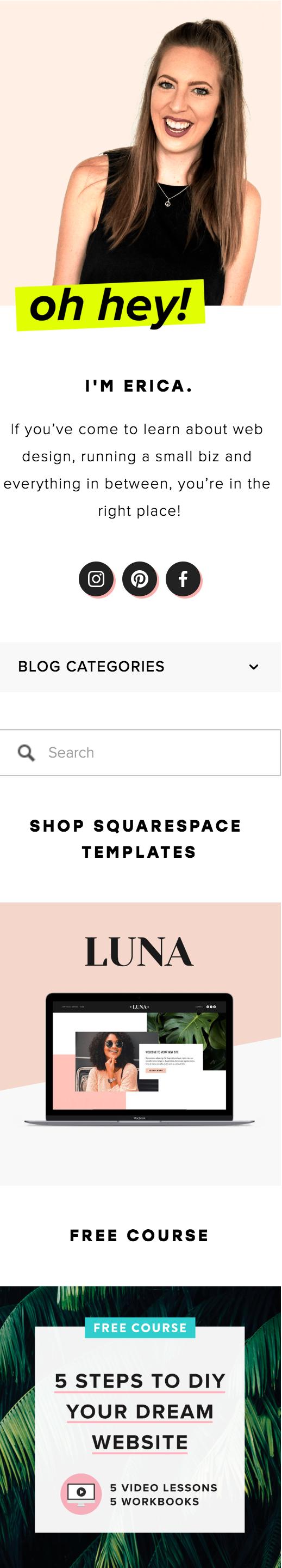 Squarespace Sidebar Example - Big Cat Creative