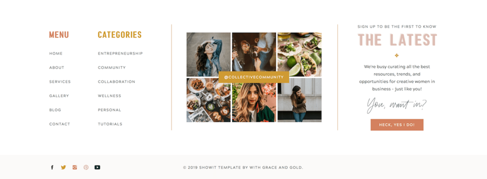 Footer from Collective Template by  With Grace and Gold