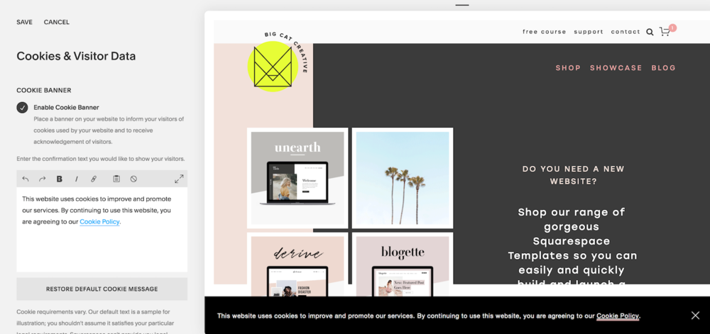 How to Customize Your Cookie Banner in Squarespace | Big Cat Creative