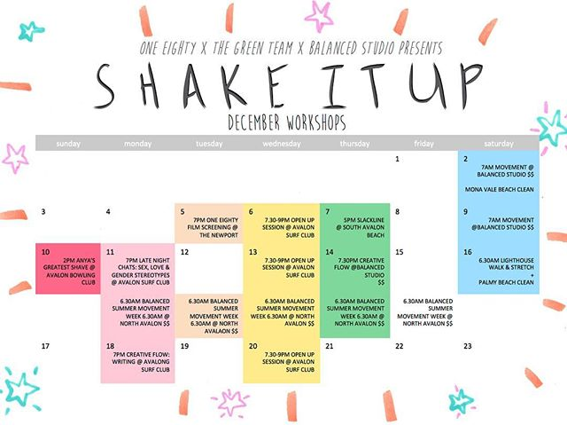 Introducing our SHAKE IT UP December workshops collab with @oneeighty_av & @balancedstudio 🌈 more details to come! Stay tuned ✨