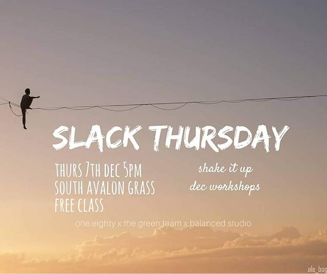 as part of our workshop collab with @oneeighty_av n @balancedstudio we hosting a slack line class tomorrow arvo! beginner & safe lines. come get involved!