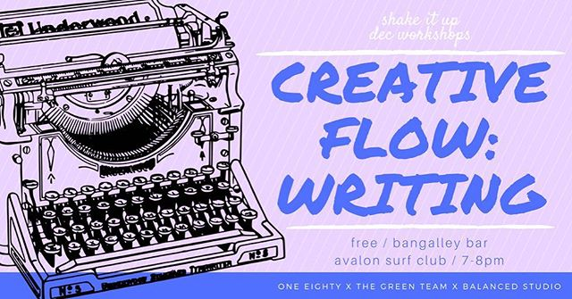 tomorrow night we are hosting as part of our dec workshop collab with @oneeighty_av x @balancedstudio a free / fun writing workshop from 7-8 at Avalon surf club! the workshop will be fairly light hearted and experimental! beginner friendly! come down and have a go or even to eat the cheese board!