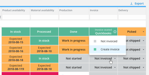 Creating invoices in Quickbooks with a click in Katana.