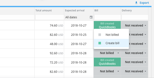 Creating bills in the buy screen, which integrate directly with Quickbooks.