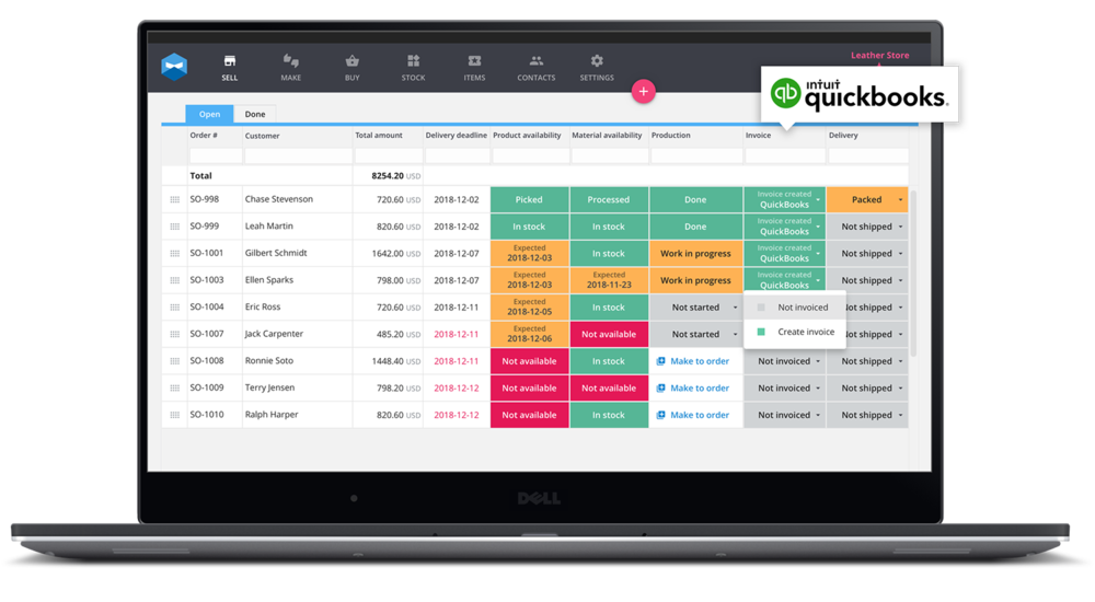 Katana Quickbooks integration. Your business accounts and accounting synchronized.