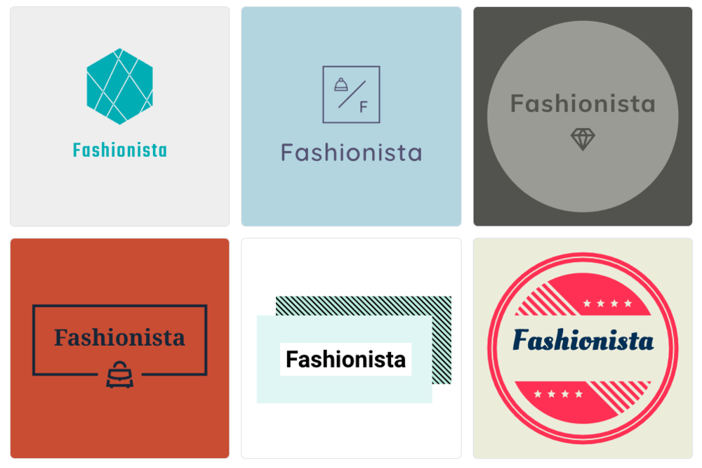 "We went for a creative, fashion brand logo for an online store called ""Fashionista"" and this is what the Shopify tool gave us. Okay to be fair the name we came up with might not be so original but the logos certainly are!"