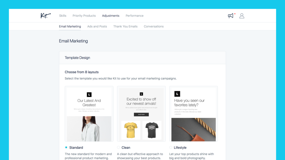Kit is a brilliantly smart Shopify tool. As well as giving you insights into your current marketing efforts, it's also going to give you tips for new directions to go in too.