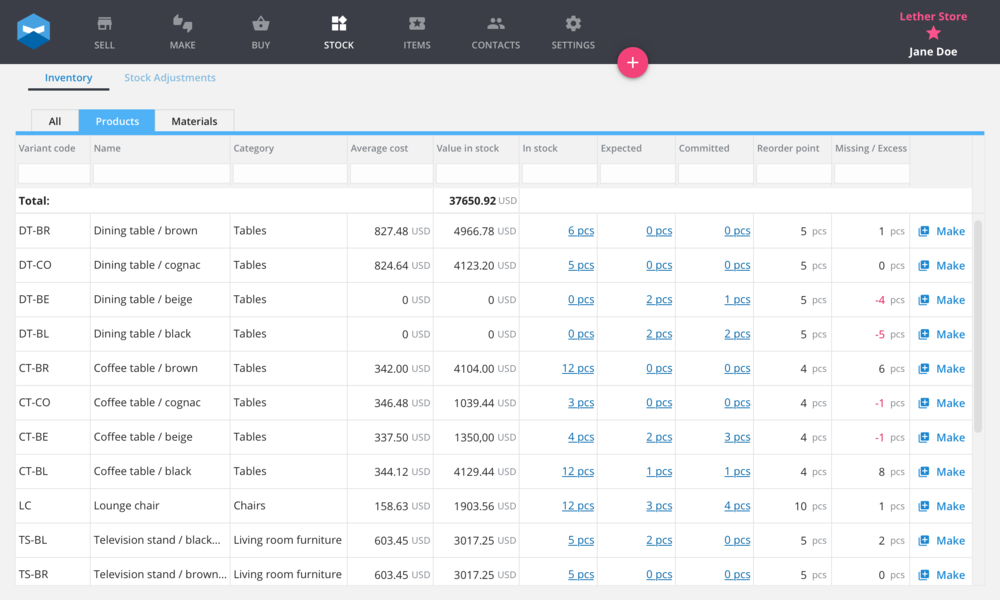 The sheer amount of details on hand is what makes Katana such a great solution to your Shopify inventory issues. You don't have to be trawling through spreadsheets to find answers to simple questions, because it's all there on a single dashboard.