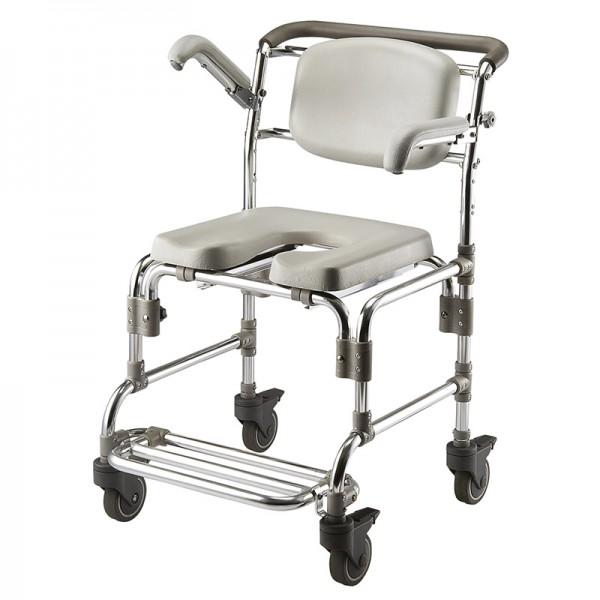 Sillas WC - DE ALUMINIO Y TRANSPORTABLESillas con ruedas y hueco perineal para personas con discapacidad.