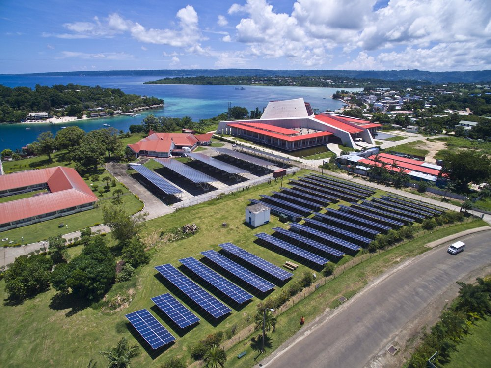 Parliament House Vanuatu ground mounted PV and solar car park system installed by Clay Energy