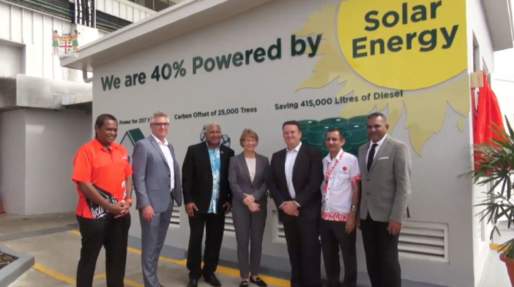 Prime Minister Voreqe Bainimarama and the team from Coca-Cola AMATIL and Sunergise launch 1.1MW solar installation.