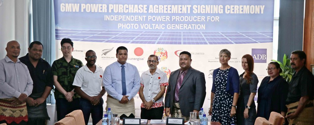 Sunergise and Tonga Power Limited sign a Power Purchase Agreement for a 6-megawatt solar farm to help meet renewable energy targets.