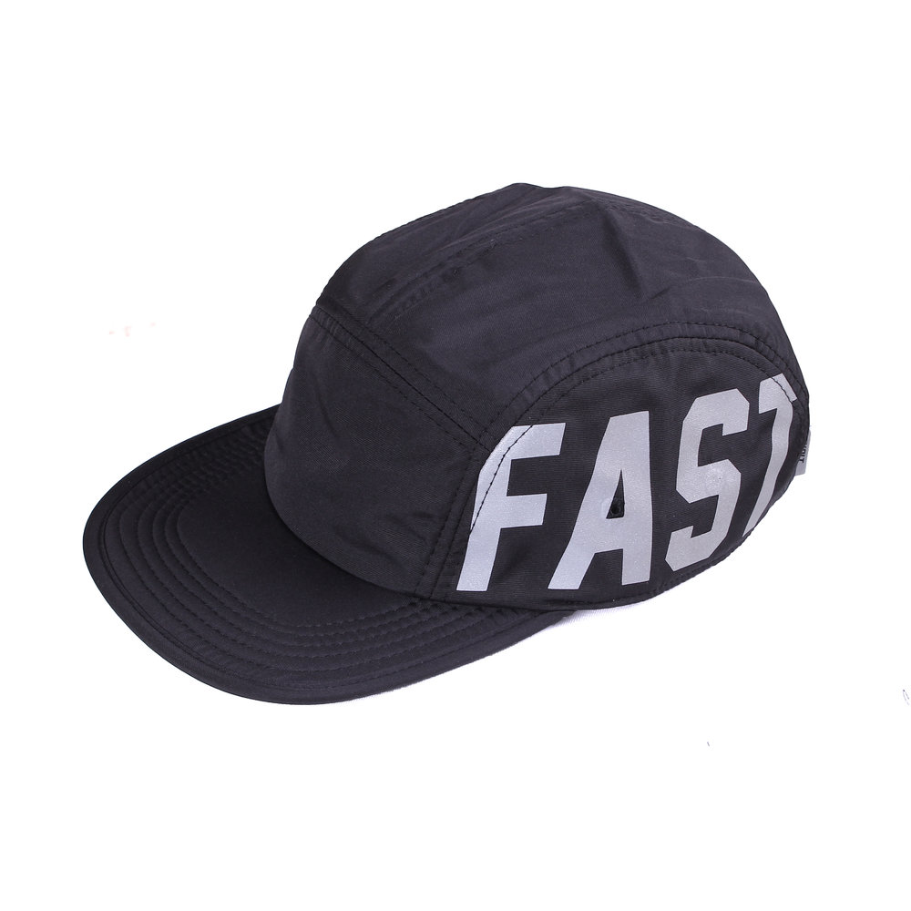 5 Panel - Team Fast   Basic Collection  Features:  - High performance nylon fabrics - Printed in reflective heat press method - Mesh fabric liner - Adjustable straps with centre release buckle - Reflective side tab label  Rp 250.000