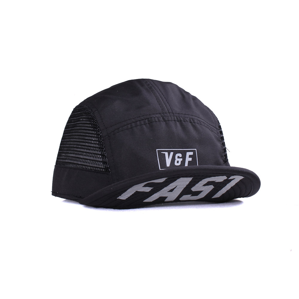 5 Panel Mesh- Team Fast   Basic Collection  Features:  - Soft billed - High performance nylon fabric & mesh fabrics - Printed in reflective heat press method - Mesh fabric liner - Adjustable straps with centre release buckle - Reflective side tab label  Rp 250.000
