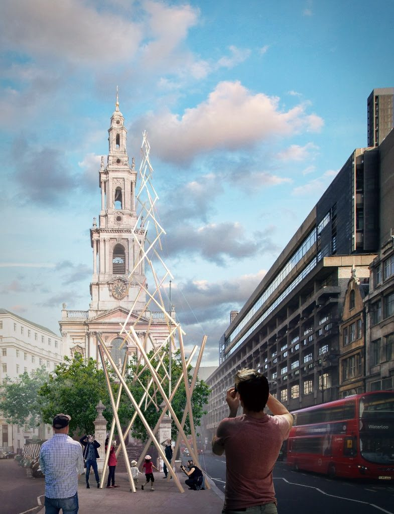 """The Modern Maypole"" winning entry designed by scottwhitbystudio and whitbywood, each pole represents a borough of London"