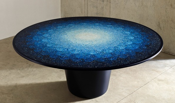 Gyro table designed by Brodie Neil using plastic waste from the ocean