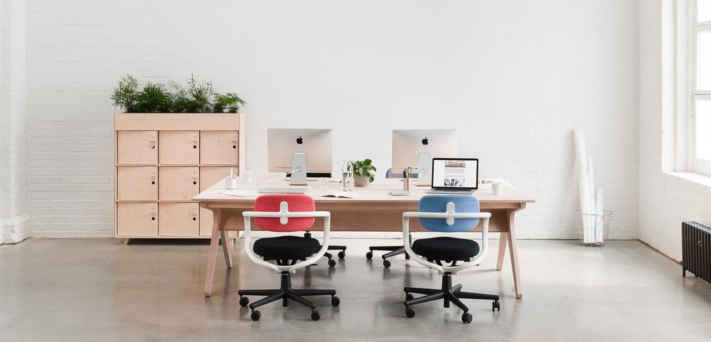 "image from opendesk - ""lean desk"" in situ"