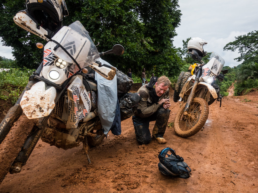 Navigating the muddy and mountainous roads of Cameroon was exhausting, literally bringing Richard to his knees.
