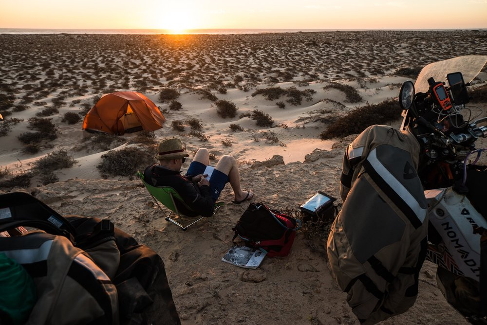 Camping on the beach in southern Morocco.