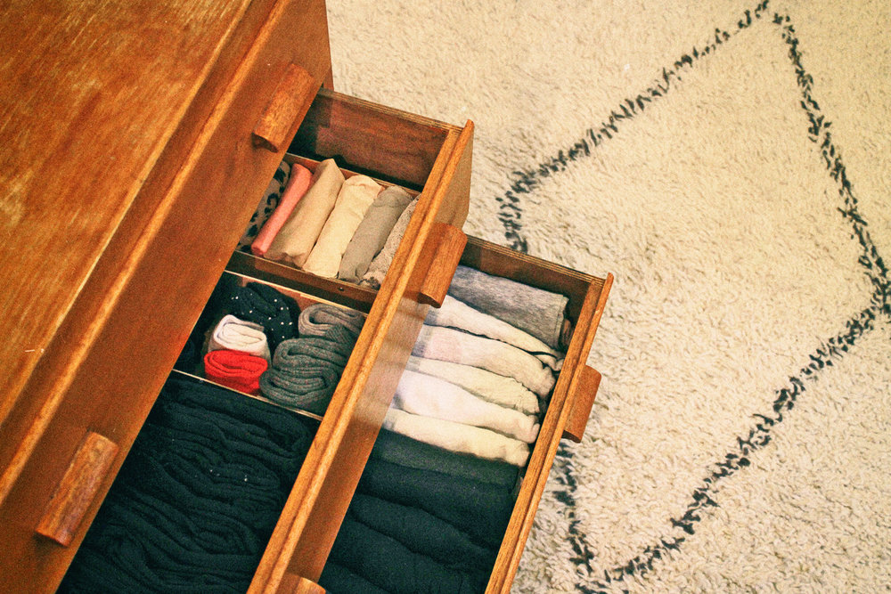 How to organise a drawer with the KonMari method.