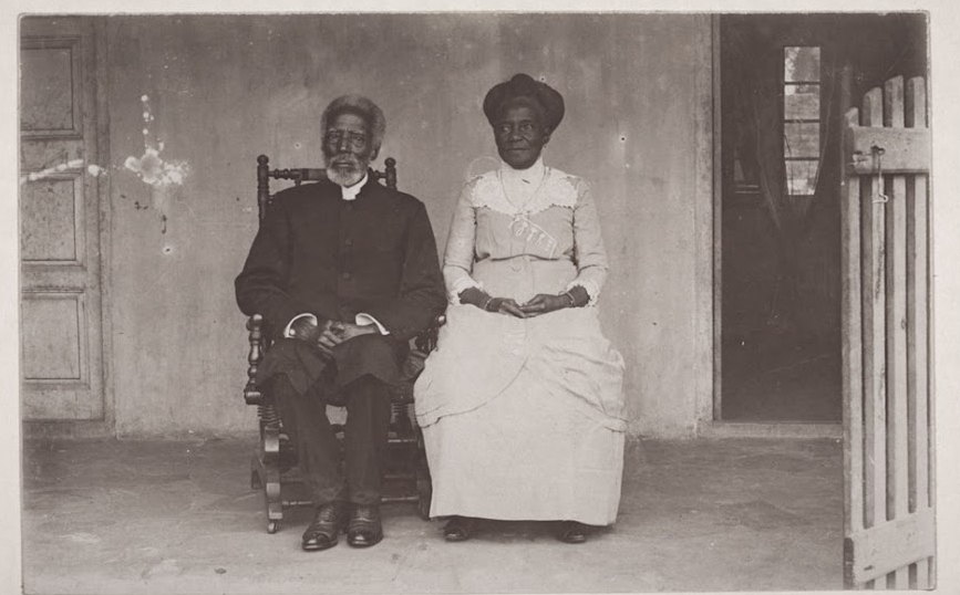 Reindorf, seated left, and his wife, on the occasion of his 80th birthday, June 1914.
