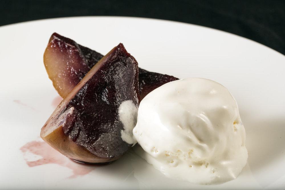 Drunken Pear with Vanilla Ice-cream. 酒香焗李配雲呢拿雪糕.