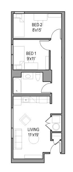 Model: 03,17  Available in handicap accessible this unit has the largest living room:  $890 per month per bedroom!