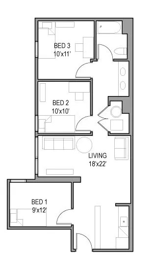 Models: 06, 13  This premium layout, has a double sink and large living area - it wont last long: $850 per bedroom per month!