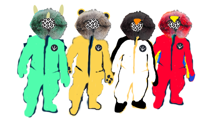 Early designs of the ski suits we had mocked up